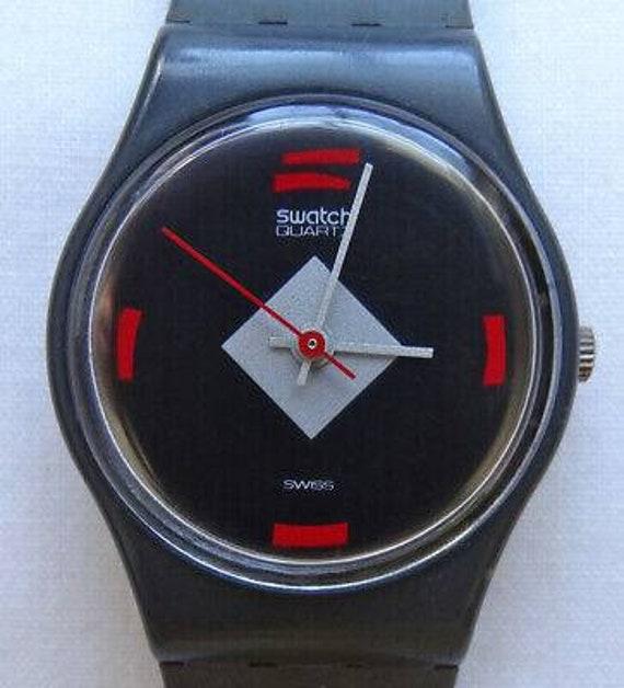 "1984 ""Mah-Jong"" Swatch - Small black face, grey design, and red bars at quarters, blackcase- Original black band - free USA shipping"