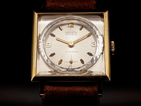 1940s Unisex Gruen Watch | Custom Suede Leather Cuff Bracelet | Hypoallergenic | James Bond Watch