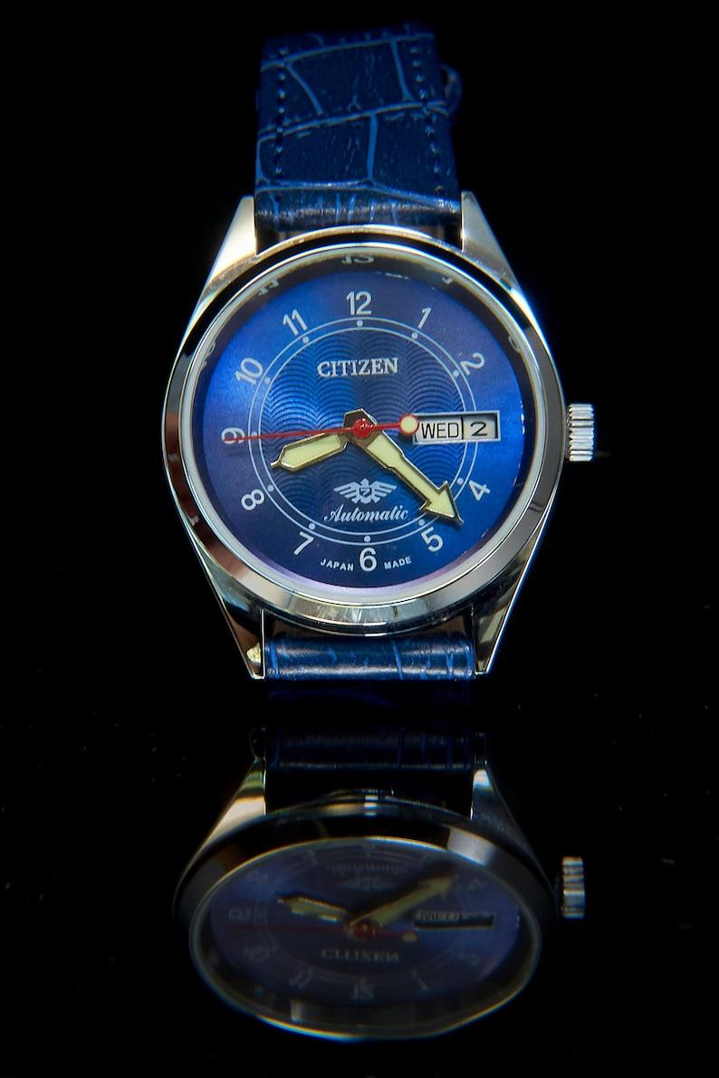 Unisex CUSTOM MOD 70s Citizen Watch  Blue Blingy Bold Big hands + leather
