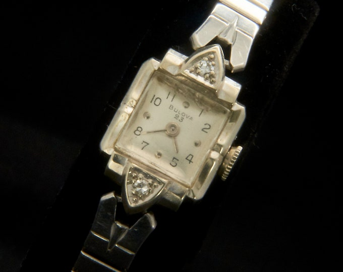 """1951 Solid White Gold Bulova """"Her Excellency"""" Diamond Watch • Mid Century Square Cocktail Watch • Antique Ladies 14k Heirloom Jewelry"""