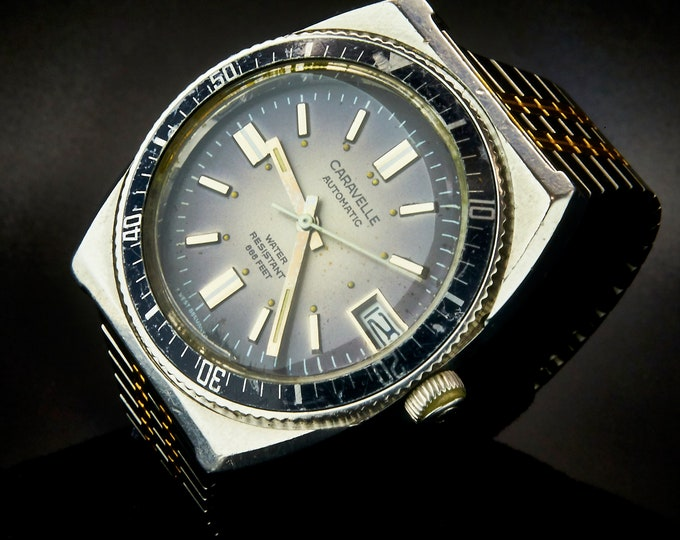 """Highly Collectable Caravelle Sea Hunter """"Devil Diver 666"""" by Bulova/1973 Men's Dive Watch/Stainless Steel Tonneau Case/Two Tone SS Band"""