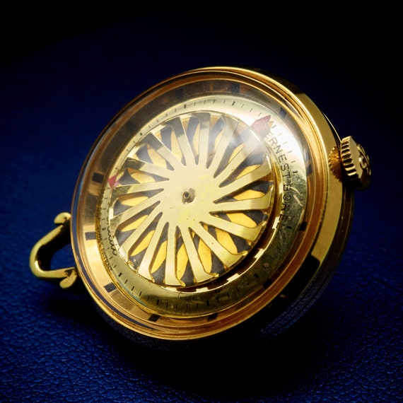 Gold Watch Pendant   Borel Tiny Kaleidoscope Pendant Watch   Vintage Kaleidoscope   Antique Kaleidoscope Necklace   Gift for wife