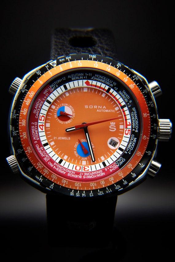 "ORANGE retro men's dive ""computer"" watch | huge automatic unisex Sorna (Breitling) watch | tachymeter, world clock, day/date/month"