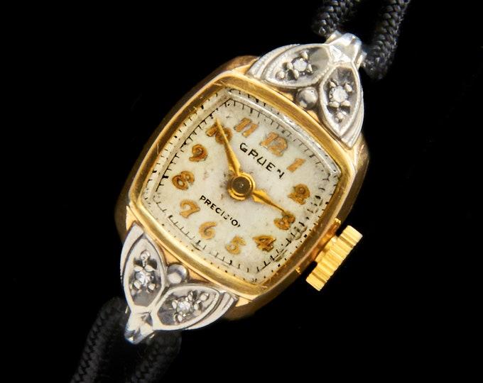 DIAMONDS! GOLD! 1940s Ladies Gruen Two Tone Gold Cocktail Watch • Original Gruen Cord Bracelet • Vintage Art Deco Estate Heirloom Jewelry