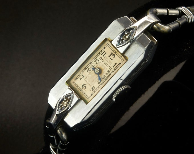 "1931 Art Deco Bulova ""Miss Liberty"" Diamond Watch • ""Baguette"" Case • Dainty Silver Bracelet • Womens Antique Estate Heirloom Jewelry"