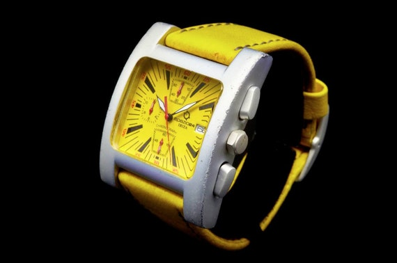 SO MUCH YELLOW | Vintage 90s Chronograph Watch | Unisex | Ibiza Spazio 24 | Italy | Banana Outfit Accessories | Banana Gift Ideas