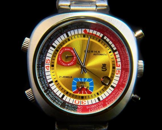 "Sorna YELLOW asymmetric unisex diving watch | Heavy stainless bracelet | BOLD Retro style | ""Rolex-Submariner-style"" timer bezel"