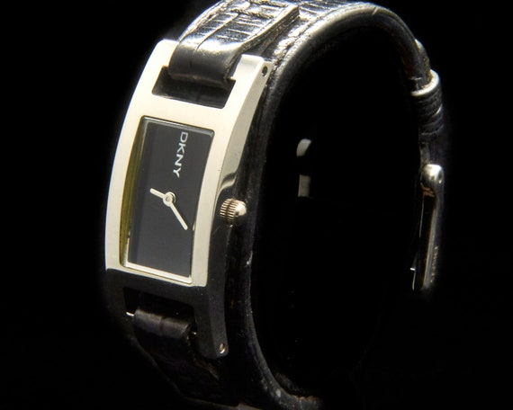 Vintage DKNY Leather Bracelet Cuff Watch • Stainless Steel • Rugged Rock and Roll Style • Affordable Luxury Designer Jewelry