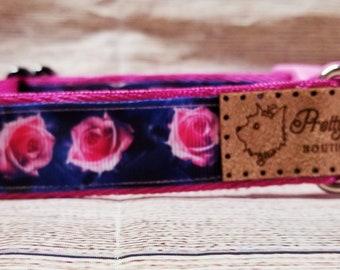 Pretty Pink Roses Dog Collar