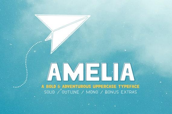 Amelia Font Collection handlettered font, digital scrapbooking, party  invitation, event flyer poster, playful font, classroom clip art