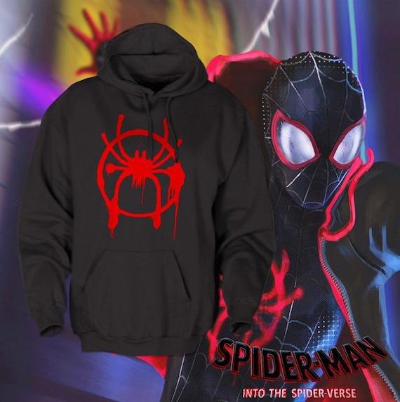 dd18f0f3 Hoodie Spiderman into spider verse miles Morales full black | Etsy