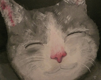 Large canvas painting: smiling gray cat - grey cat canvas painting