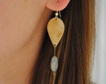 Gold drop earrings with blue aventurine