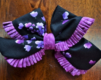 Black and Purple Floral Ruffle Bow