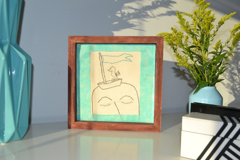 Cyan Color 8x8 inches Woman Traveling to the Sea Standing Frame Embroidery Art