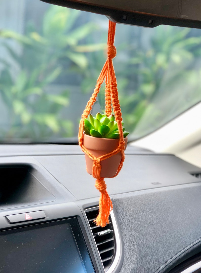 Mini Macrame Plant Hanger Car Rearview Mirror Accessories Yarn Car Plant Hanger Small Macrame Accessory Succulent Macrame Plant