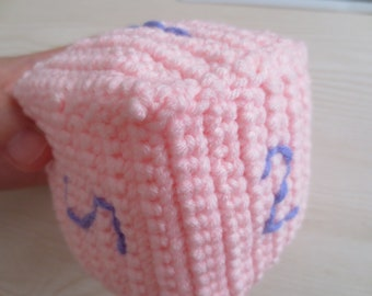 dice crochet knitted finished
