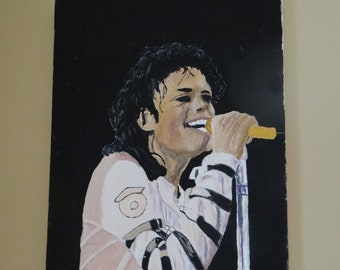 Michael Jackson Acrylic Painting, King of Pop on Canvas, Jackson Pop Music Painting