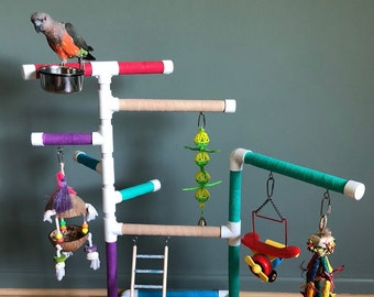Bird Playstand/Playgym with Removable Stainless Steel Bowl(s) and Stainless Steel Hooks