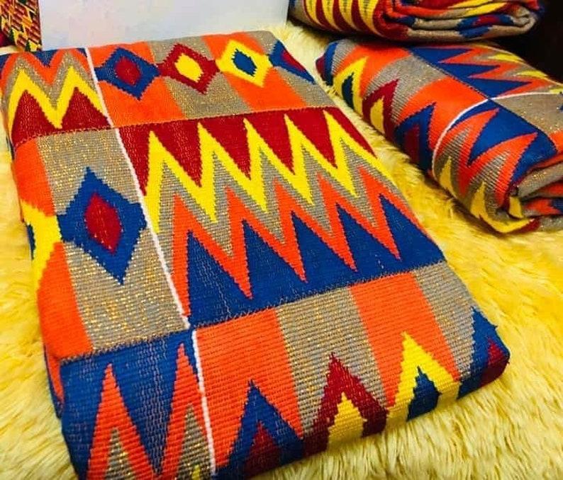 Silk Wool blend KENTE-Hand woven Kente-African Royal Kente-Cotton