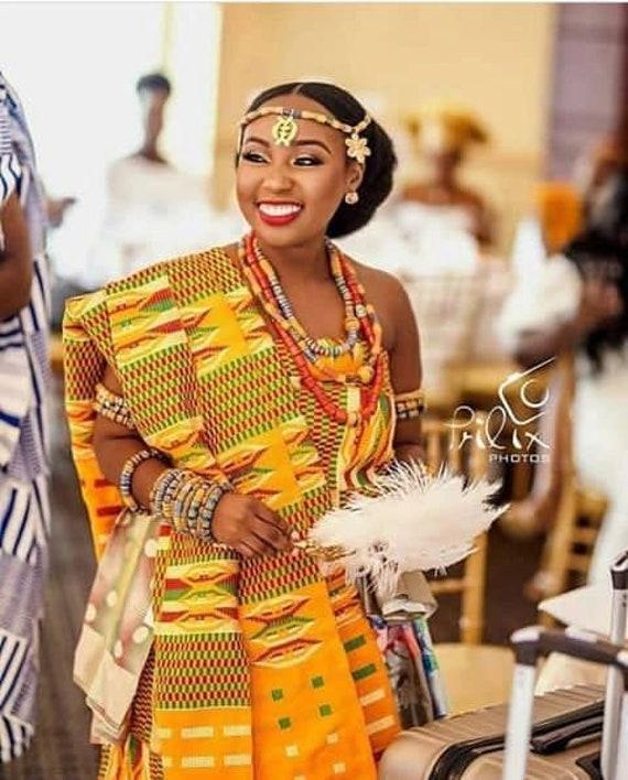KENTE-Hand woven Kente-African Royal Kente-Cotton Wool blend Silk