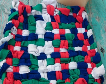 Trivet pot holder or dish Tawashi woven zero waste recycled fabric
