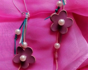 Purple Leather Dangle Earrings//Casual Floral Jewels