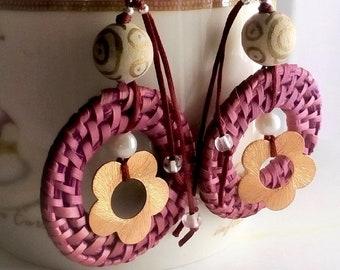 Wicker- Copper Rotten Apple - Coloured Earrings//Wicker and Wood Earrings