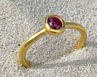 PHILIPPE SPENCER .46 ct Ruby & 20K Gold Hand-Forged Solitaire Ring with 22K Gold Bezel