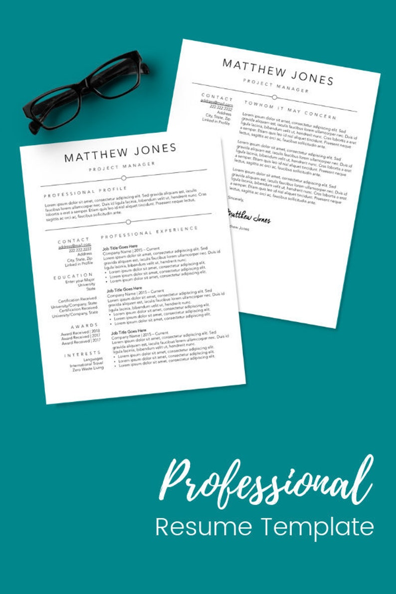 Simple Executive Resume Template With Optional Page 2 Cover