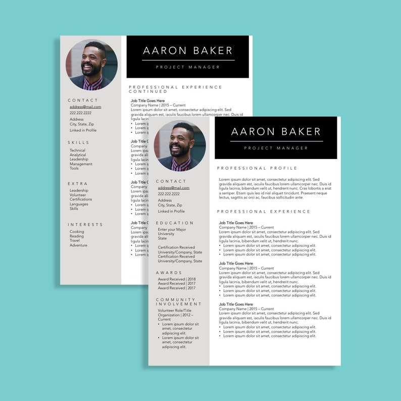 Simple Resume Template with Photo | Clean Resume Design | Two Page Resume  Builder | Creative Resume for Young Professionals | Digital Resume