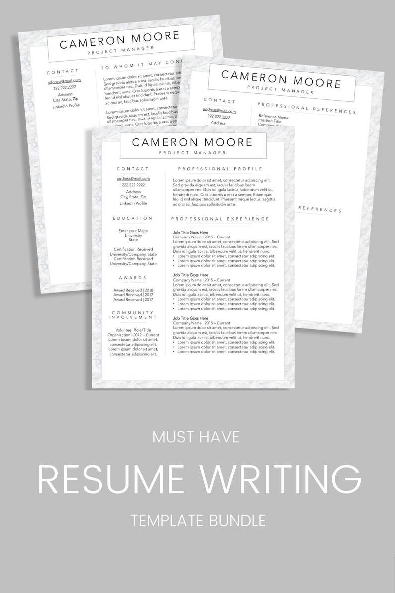 Executive Professional Resume CV Builder Bundle Includes Custom Resume CV Cover Letter And References Templates