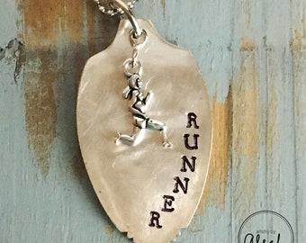 Runner - Handstamped vintage spoon necklace