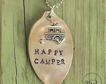 Happy Camper - Handstamped vintage spoon necklace