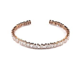 Athena rose gold crystal cuff bracelet