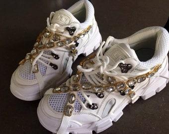 ab183e84de0b Inspired reworked brand rhinestone cross sneakers