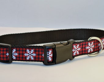 Large Snowflake Plaid Dog Collar