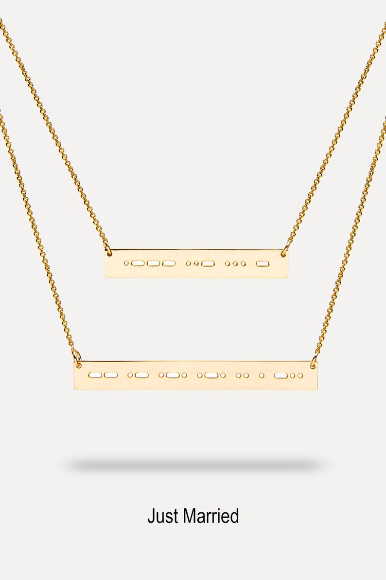 Just Married Necklace Morse Code Romantic Jewelry Gift Etsy