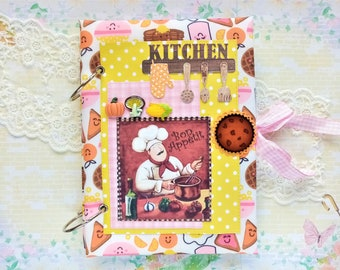 Handmade Recipe Book with 50 Blank Recipe Cards and 5 dividers, Recipe Organizer, Card Kitchen, Recipe Journal