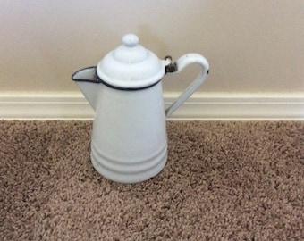 Vintage White enamelware Coffee pot