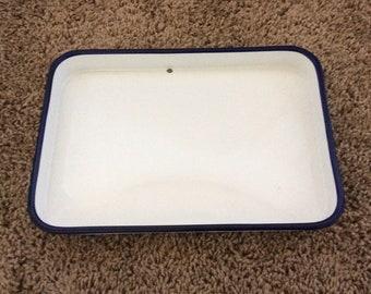 Vintage White enamelware tray
