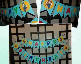 Mario bros birthday banner