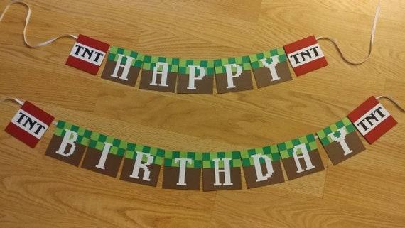 Minecraft Inspired Minecraft Birthday Banner Etsy
