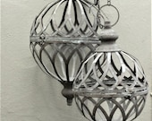 A Pair of classical Hanging Orb Planters Outdoor/indoor