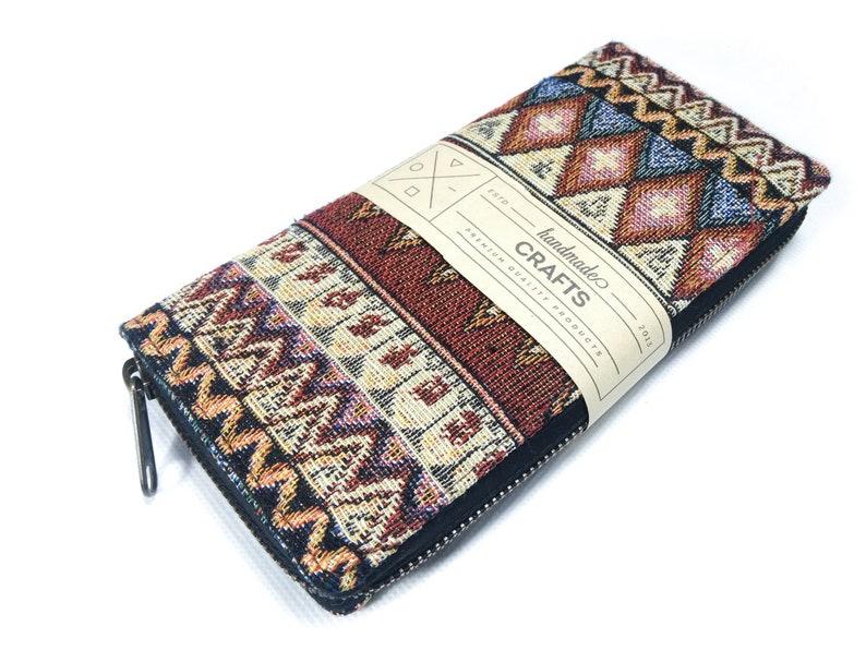 49277c7f9760 Aztec Long wallet Woven Boho Long wallet YKK zipper Tribal Ladies Wallets  Card Holder