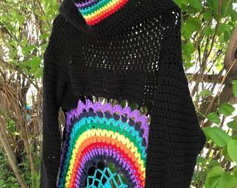 Rainbow/chakra sweater cardigan M/L Womens