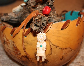 Southwest Original Vessel Gourd Brown & Turquoise Hand Painted with Dream Catcher Cachina Dolls Turquoise Coral Beaded Feathers Leather Wrap