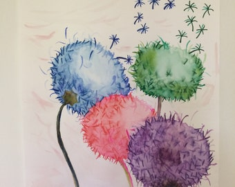 Watercolor painting: WISH FLOWERS