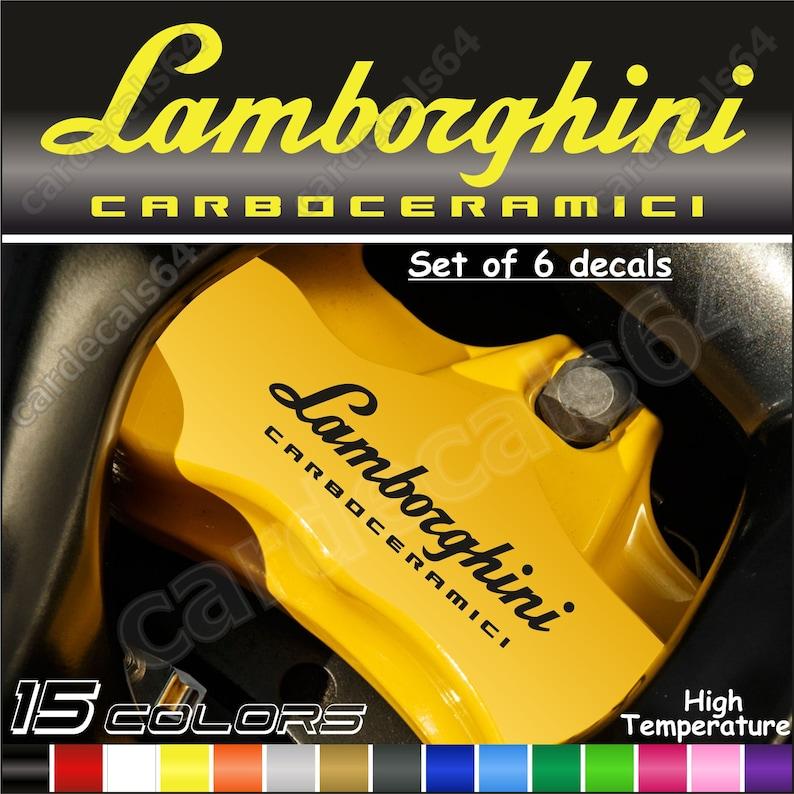 6 X Lamborghini Carboceramici Brake Caliper Decal Sticker Emblem Logo High  Temp