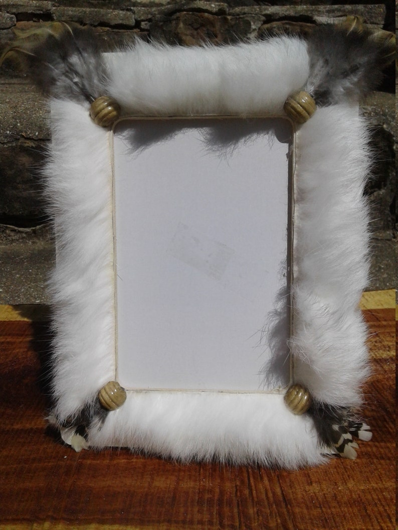 Hand Made Picture FrameWedding Picture FrameRabbit FurPetDogCatFly FishingRustic Picture FrameCountryFeathers and FurWood Frame